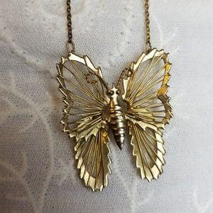 Vintage Hallmarked Butterfly Necklace